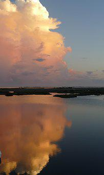 Clouds, Gulf Of Mexico, Marsh, Nature, Florida, Sky