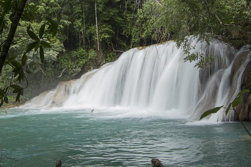 Waterfalls, River, Current, Nature, Chiapas-mexico