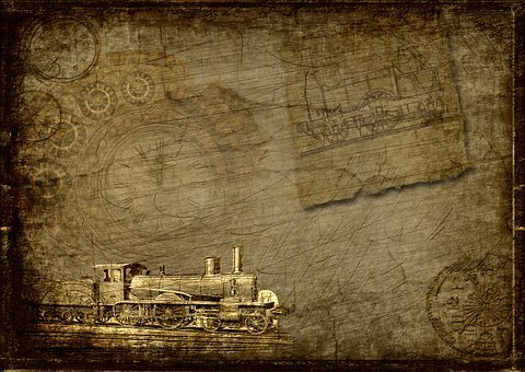 Locomotive, Clock, Steampunk, Industry, Scrapbooking