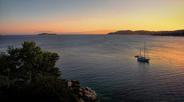 Holiday, Sunset, Sea, Island, Ship, Boot, Sail