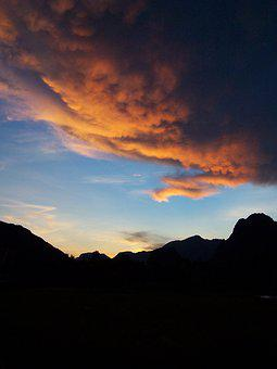 Sunset, Landscape, Mountains, Clouds, Sky, Sun, Dusk