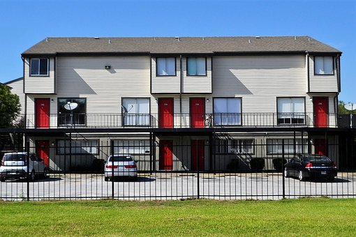 Apartment Complex, Houston Texas, Town House, Red