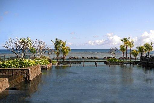 Swimming Pool, Ocean, Mauritius, Water, View, Travel