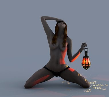 Girl, Teen, Kneeling, Lamp, Fantasy, Woman, Clothing