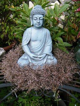 Buddha In The Garden, Budda, Wreath, Spirituality