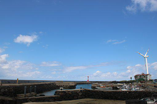 Jeju Island, Sea, Wind Power Plant, Sky, Beach
