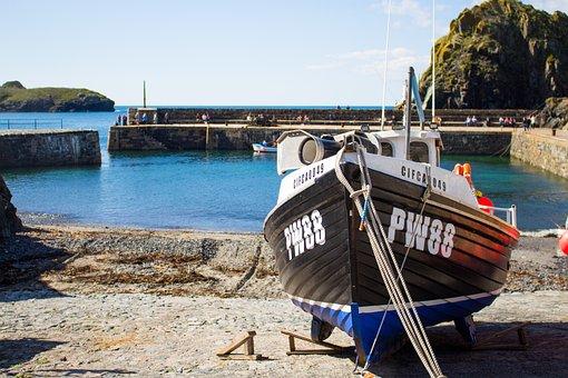 Mullion, Cornwall, England, Uk, Sea, Blue, English