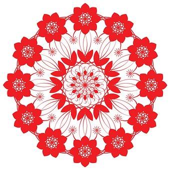 Red, Pattern, Flower, Floral, Round, Circle, Mat
