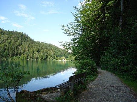 Bank, Lake, Sky, Seat, Lakeside, Mood