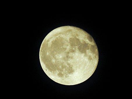 Moon, Night, Full Moon, Sky, Moon Craters, Moonlight