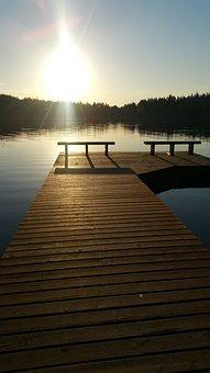 Dock, Water, Sunset, Summer, Sea, Pier, Sky, Boat