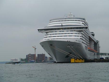 Cruise Ship, Amsterdam, Port, Gigantic, Large, Ship