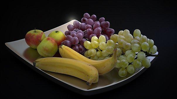 Fruit, Shell, Banana, Grapes, Apple, Metal Shell