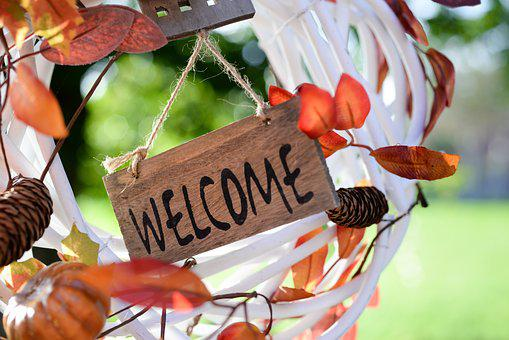Welcome, Tag, Decoration, Wreath, Leafs, Sign, Greeting