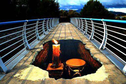 Figure, Bridge, The Bottom Picture, Street Painting