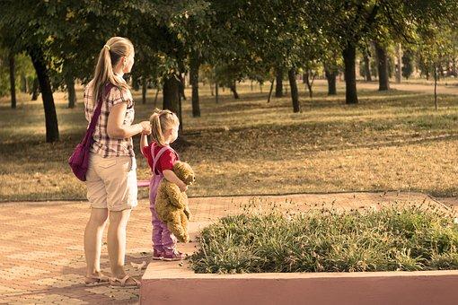 Park, Kids, Mom, Family, Stroll, Sunny Day, In The Park