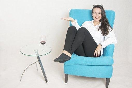 Armchair, Photo Studio, Beauty, Brunette