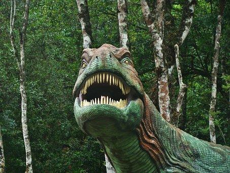 Dinosaur, Forest, Ride, Park, Lawn, Cinnamon, Green