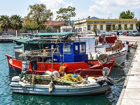 Boats, Port, Harbor, Sea, Dock, Town, Summer, Volos