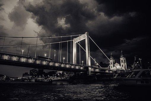 Bridge, City, Water, Budapest, Hungary, Elisabeth Bride