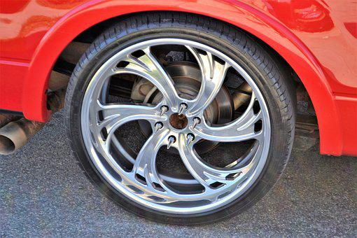 Custom Rims, Wheel, Car, Red Sports Car, Rim, Silver
