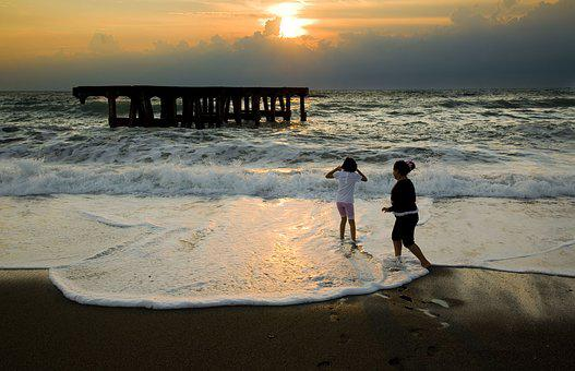 Sunset, Children, Horizon Line, Wave, Black Sea