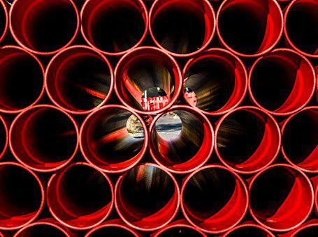 Construction, Tube, Red, Engineering, Industry, Pipe
