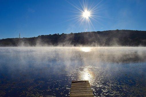 Lake, Mist, Water, Sun, Dock, Nature, Landscape, Summer