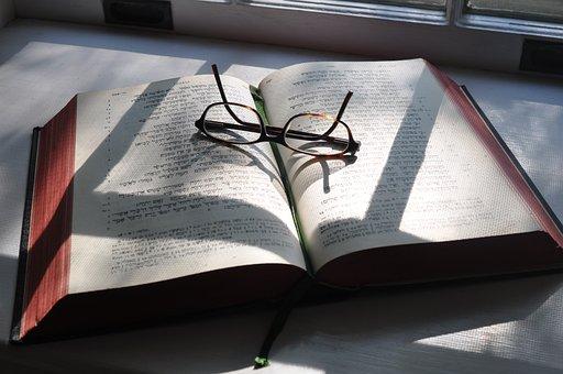 Hebrew, Glasses, Bible, Shadows, Study, Religious