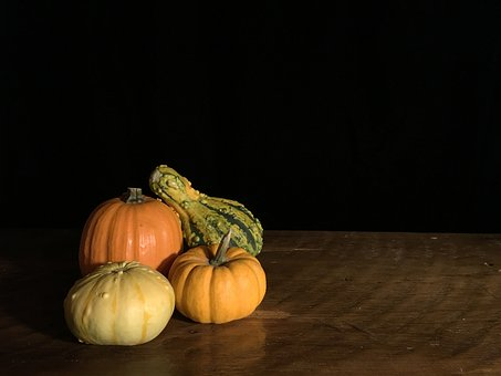 Pumpkin, Orange, Gourd, Squash, Yellow, Green, Table
