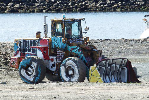 Graffiti, Loader, Urban Art, Construction