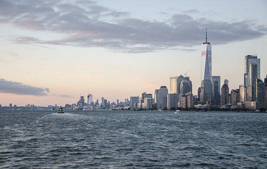 Usa, New York, Ny, Nyc, Skyline, Hudson River