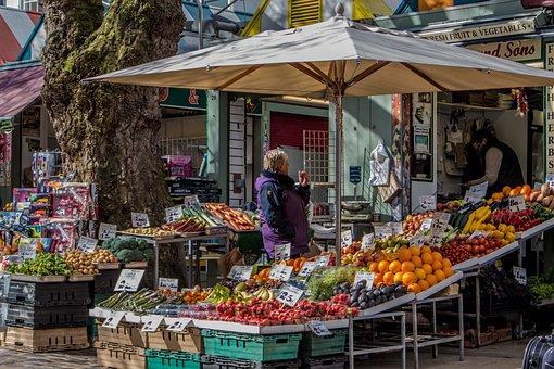 Norwich, City, Market, Stall, Fruit, Veg, England, Uk