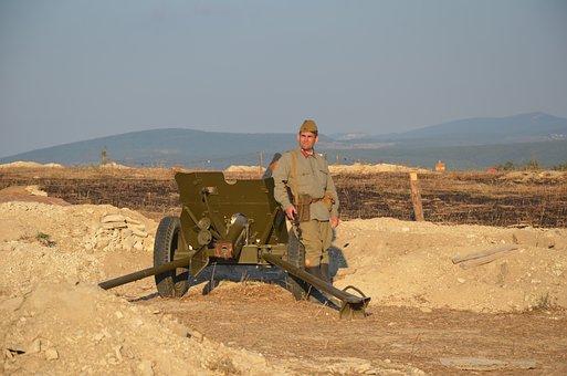 Crimea, Military, Islands, War, Cannon, Soldier, Retro