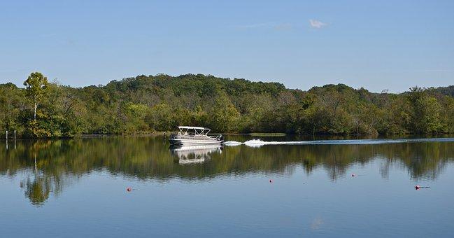 Motor-boating Fisherman, Lake, Nature, Fog, Fisherman