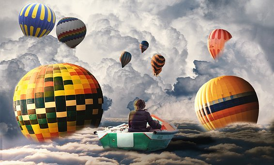 Photoshop, Balloon, Clouds, Imagination, Floating, Fly