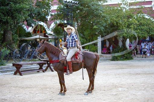 Cowboy, Mexico, Lasso, Rider, Sombrero, Attraction