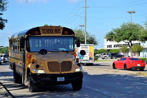 School Bus, Houston Texas, Street, Children, Students
