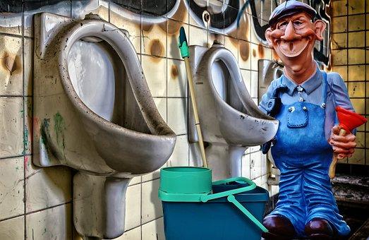 Plumber, Toilet, Work, Clean, Repair, Urinal, Wc, Pee