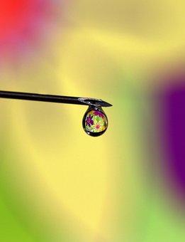 Drop, Water, Reflection, Coloring, Macro