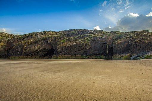 Cardigan Bay, Cave, Beach, Low Tide, Ocean