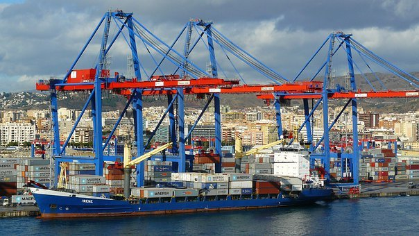 Container Port, Port, Coast, Architecture, Boats, Crane