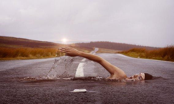 Swimmer, Sport, Swim, Water, Swim Stroke, Human, Road