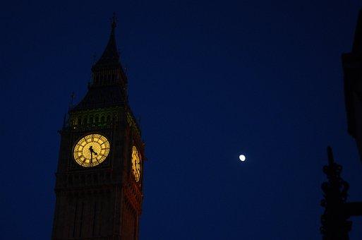 Bigben, Clocktower, Parliament, Tower, Night, Moon
