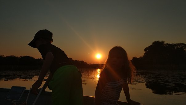 Sunset, Dawn, Backlit, People, Evening, Dusk, Water
