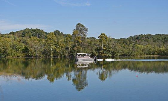 Motor-boating Fisherman, Lake, Nature, Fisherman, Boat