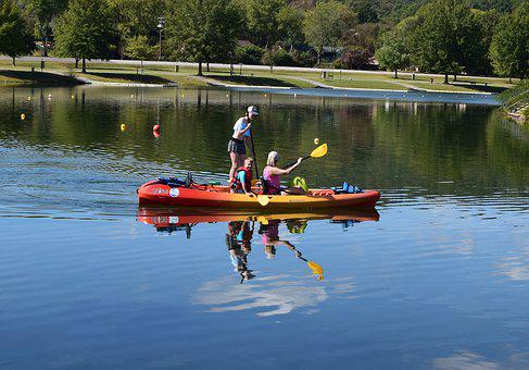 Colorful Boaters, Kids, Boat, Paddle Board, Children