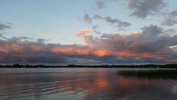 Water, Sunset, Landscape, Lake, Dawn, Nature