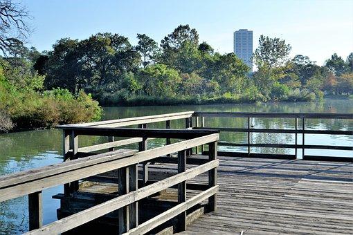Herman Park, Houston Texas, Lake, River, Trees, City