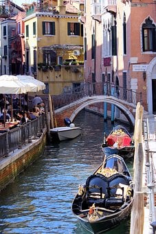 Venice, Channel, Road, Cafe, Bridge, Old Town